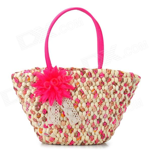 Fashionable-Womens-Travel-One-Shoulder-Corn-Bran-Straw-Handbag-Deep-Pink-2b-Beige