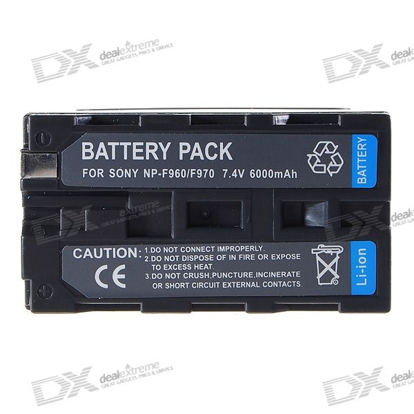 NP-F960/F970 Compatible 7.4V 6000mAh Li-Ion Battery Pack for Sony TRV1/TRV3/200/300 + More