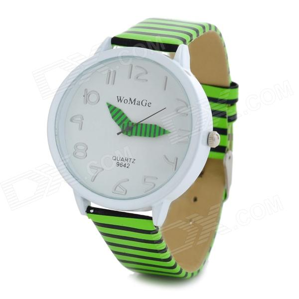Buy Stripe Pattern PU Band Analog Quartz Wrist Watch - Black + Green + White (1 x 377) with Litecoins with Free Shipping on Gipsybee.com