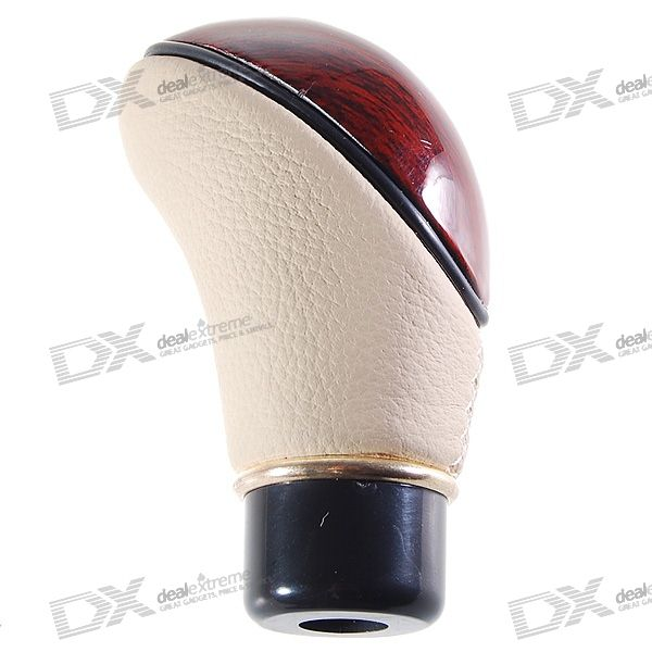 Stylish Peach Wood + Leather Car Shift Stick Knob