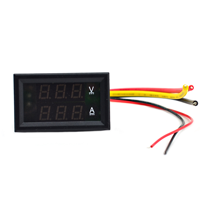 Dual LED Display Car Voltmeter Module (DC 0~100V / 10A 12V) - Black