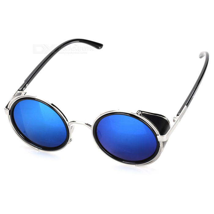 Stylish UV400 Protection PC Lens Plastic + High-Nickel Alloy Frame Sunglasses - Black + Silver
