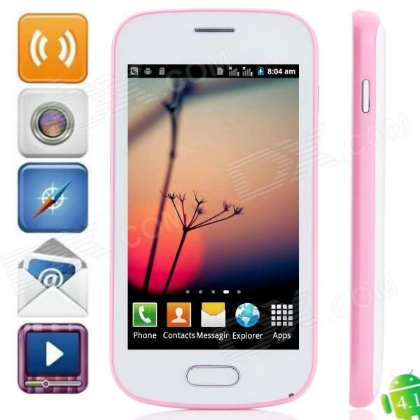 "7562 Android 4.1.1 GSM Bar Phone w/ 4.0"" Capacitive Screen, Quad-Band and Wi-Fi - White + Pink"