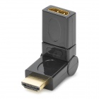 7-180 19pin HDMI Male to HDMI Female 90 / 180 Degree Rotatable Converting Adapter - Black + Golden