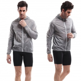 VEOBIKE-Polyester-Super-Slim-Outdoor-Wind-Coat-Grey-(Size-L)
