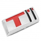 3D Style Car Decorative Sticker - Silver + Red