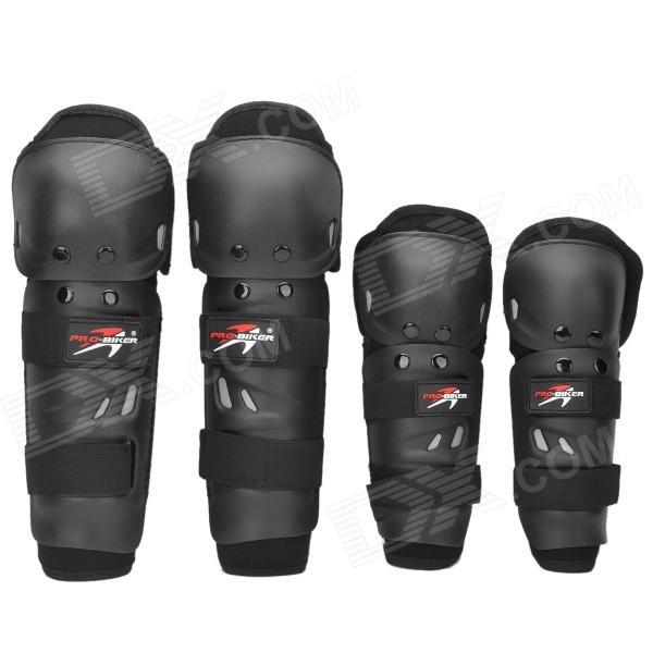 Buy PRO-BIKER HX-P01 Motorcycle Racing Elbow / Knee Protectors Guards Set - Black with Litecoins with Free Shipping on Gipsybee.com