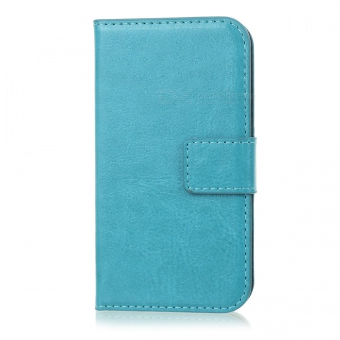 Protective PU Leather Flip-Open Case for Iphone 4 / 4S - Greenish Blue