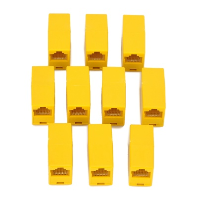 RJ45 End-to-End Ethernet Cable Connector - Yellow (10 PCS)