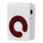 Mini Sports Clip-On MP3 Music Player w/ TF / Earphones - White + Red