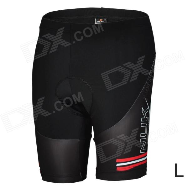 NUCKILY BK277 Outdoor Cycling Man's Quick Dry Dacron Lycra Short Pants - Black (Size L)