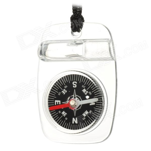 Useful Handy Compass w/ Whistle & Carrying Strap - Black + White