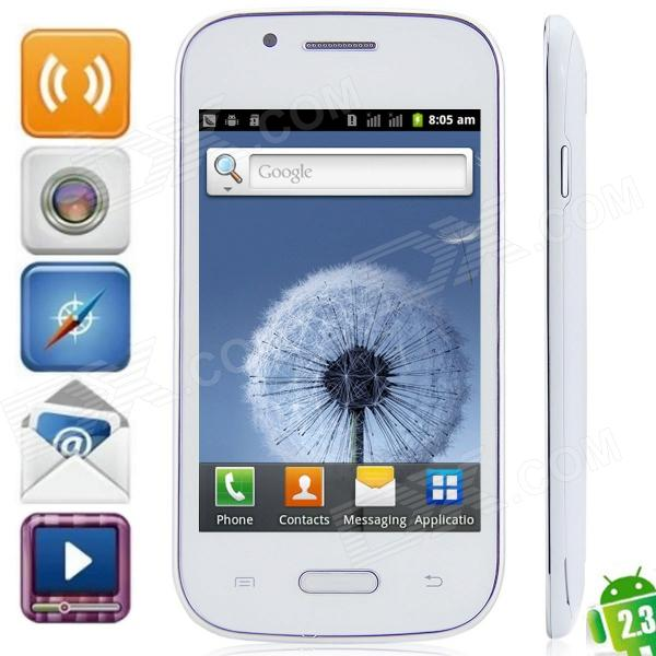"S9300 Android 2.3.5 GSM Bar Phone w/ 4.0"" Capacitive Screen, Quad - Band, Wi-Fi and TV - White"