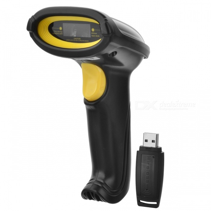Buy 2.4GHz Wireless Handheld Barcode Laser Scanner - Black + Yellow with Litecoins with Free Shipping on Gipsybee.com