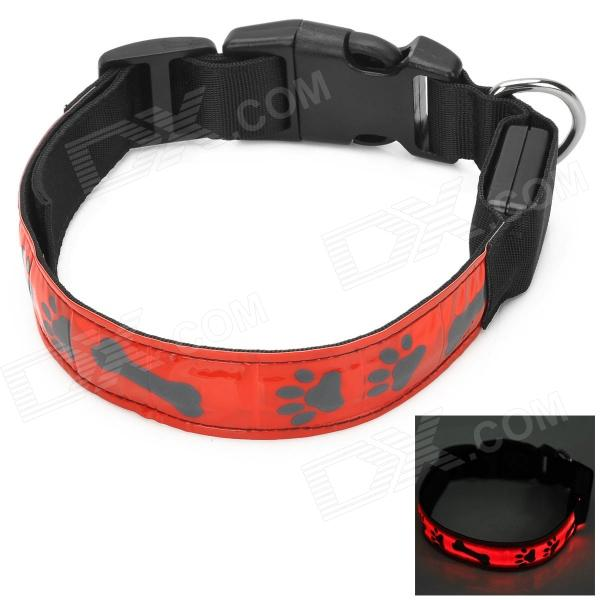 Buy Adjustable Reflective Red Light LED Strip Pet Safety Collar - Red (M) with Litecoins with Free Shipping on Gipsybee.com