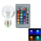 E27 3W 45lm LED RGB Light Bulb w/ Remote Controller - White + Silver (85~265V)