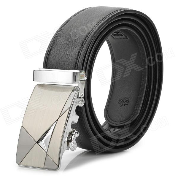 Mens-Durable-Business-Leather-Belt-w-Buckle-Black-2b-Silver