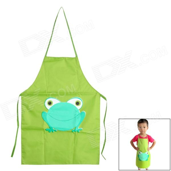 Cartoon Frog Pattern Waterproof Apron For Children Painting Green Blue 2 7 Years Old