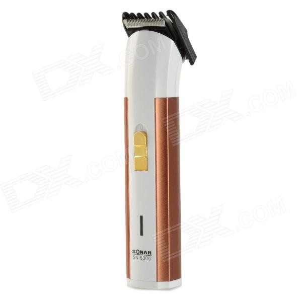 SN-6300 Professional Rechargeable Hair Clippers - White + Electroplating Brown