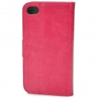 Protective PU Leather Flip-Open Case for Iphone 4 / 4S - Deep Pink