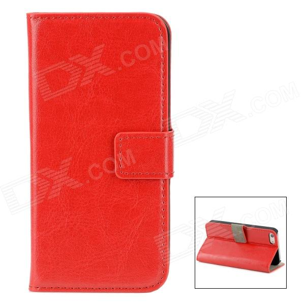 Protective PU Leather Flip-Open Case for Iphone 5 - Wine Red
