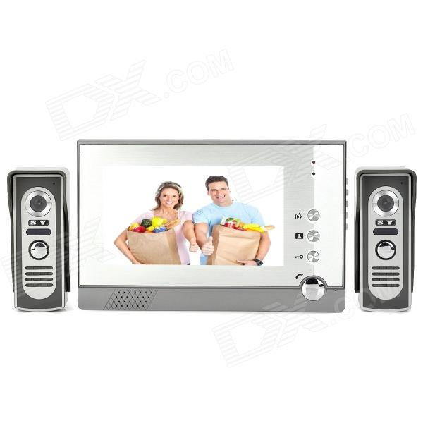 "805M21 7"" LCD Screen 2-to-1 Water Resistant Night Vision Wired Video Door Phone Bell - Gray + White"