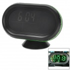 "Multi-Functional Car 2.5"" LCD Clock / Thermometer / Battery Voltmeter - Black + Green"