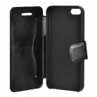Suojaava PU Leather Flip Open Case Iphone 5 - Musta