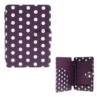 Polka Dots Pattern Protective PU Leather Case Cover for Amazon Kindle Paperwhite - Purple + White