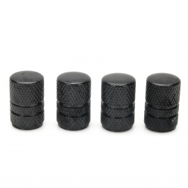 MZ Cylinder Aluminium Alloy Car Tire Valve Caps - Black (4PCS)