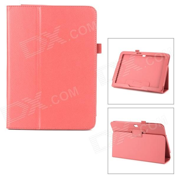 Buy Protective Flip Open Lambskin Case w/ Stand for Samsung Galaxy Tab 3 P5200 - Red with Litecoins with Free Shipping on Gipsybee.com