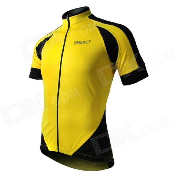 5514ef381 ... Spakct S13C12 Bicycle Cycling Short Sleeves Jersey for Men - Yellow +  Black (Size XXL ...