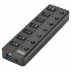 7-Port Hub USB 3.0 w / Switch individuelle + 2-plat-Pin Plug Power Adapter - Noire