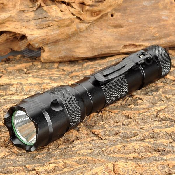 LED 395nm 5-Mode Ultraviolet UV Flashlight w/ Clip - Black (1*18650)