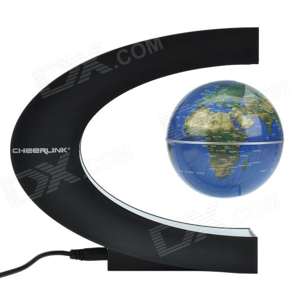 Buy CHEERLINK High-Grade Gift 8.5cm Rotation Magnetic Levitation Globe - Black + Blue with Litecoins with Free Shipping on Gipsybee.com