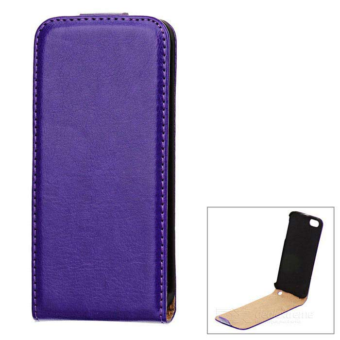 Protective Flip-Open PU Leather Case for Iphone 5 - Purple