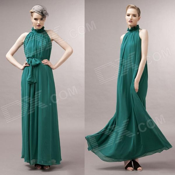 Women's Belted Pleated Chiffon Maxi Dress - Blackish Green (Free Size)