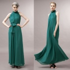 Womens-Belted-Pleated-Chiffon-Maxi-Dress-Blackish-Green-(Free-Size)