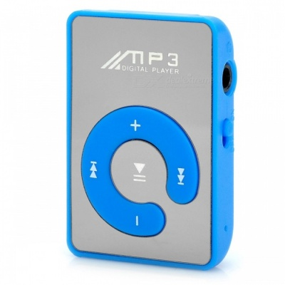 Portable Clip-on MP3 Player w/ TF / Earphones - Blue + Silver