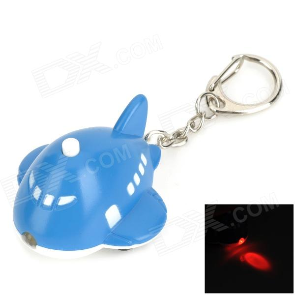 Cute Cartoon Airplane Style Red Light LED Keychain w/ Sound Effect - Blue + White (3 x AG10)
