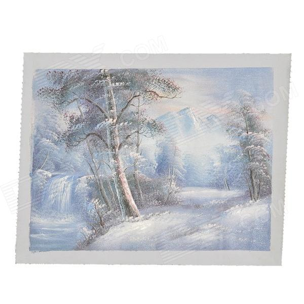 Buy Snow Woods Pattern Decorative Linen Landscape Oil Painting with Litecoins with Free Shipping on Gipsybee.com