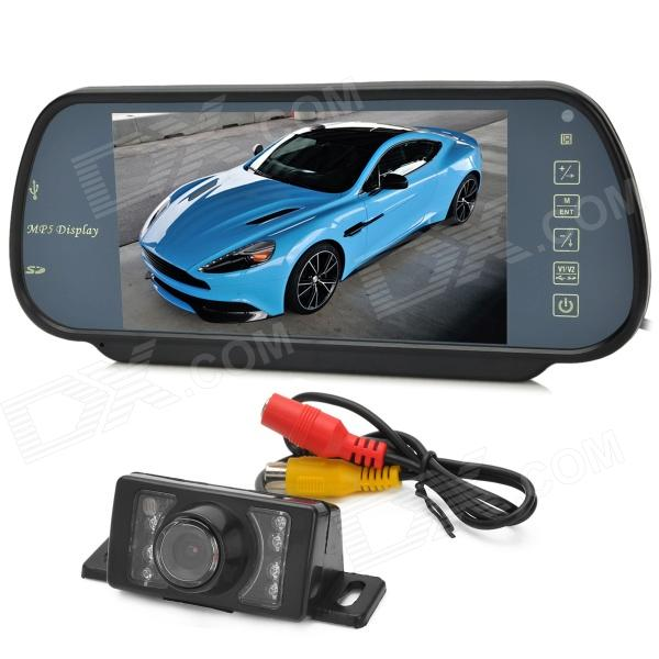 "Universal 7"" Rearview Mirror MP5 + Wired IR Night Vision CMOS 1030 Camera Set for Car - Black"