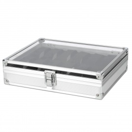 12-Grid-Aluminum-Alloy-Watch-Display-Cosmetic-Storage-Case-Silver