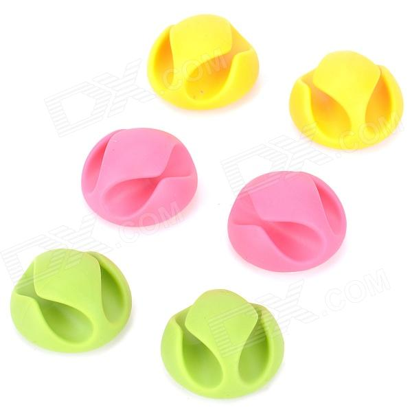 CC-929 Dual-Wire Cable Management w/ Adhesive Tape - Yellow + Deep Pink + Green (6 PCS)