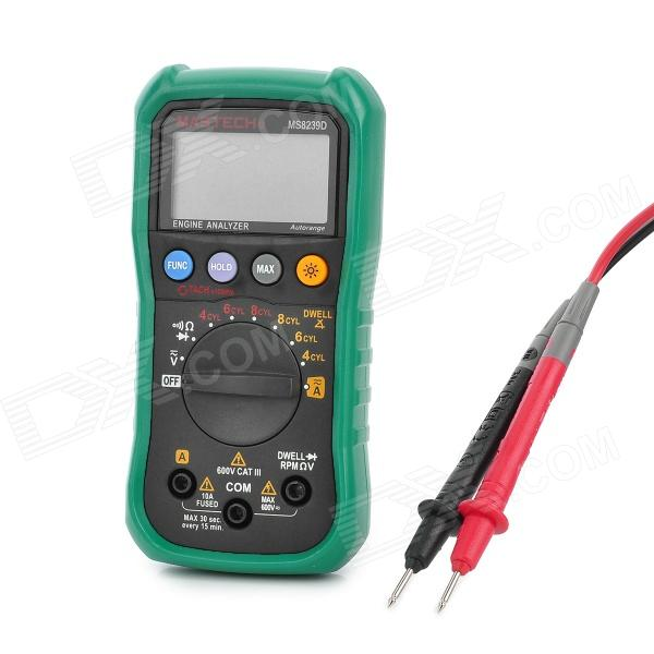 MASTECH MS8239D Autoranging Digital Multimeter w/ Built-in Engine Analyzer - Green + GrayMultimeters<br>ModelMS8239DQuantity1Form  ColorGreyMaterialPlasticMax. Display2000DC Voltage200mVAC Voltage200mVDC Current10AAC Current10AResistance200Powered ByAA Battery,AAA Battery,OthersCertificationCEPacking List1 x Multimeter1 x Manual2 x AAA batteries2 x Multimeter probes (80cm)<br>