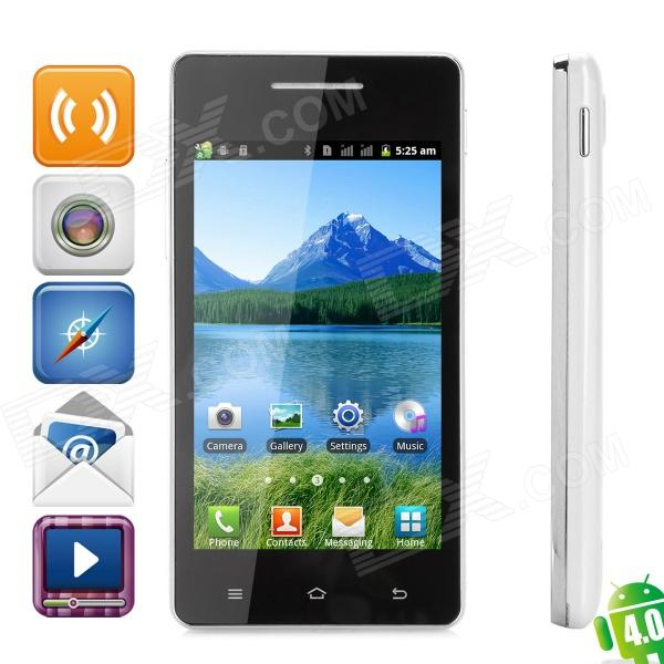 "KICCY S77 Android 4.0 GSM Bar Phone w/ 4.0"" Capacitive Screen, Wi-Fi and Quad-Band - Black + White"