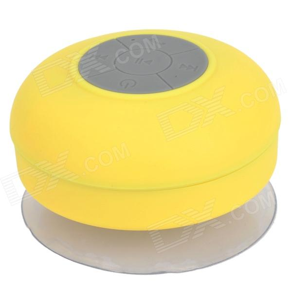 BTS-06 Portable Rechargeable Water Resistant Bluetooth Speaker w/ Microphone - YellowSpeakers &amp; Microphone<br>ModelBTSQuantity1MaterialABSForm  ColorYellowCompatible ModelsIPHONE 5FM RadioNoOutput Power3WConnectionBluetoothBluetooth VersionNoPowered ByUSBInput Voltage5VOutput Voltage5VFrequency Response100Hz~20kHzImpedance4ohmOther FeaturesSupportsPacking List1 x Bluetooth speaker 1 x USB charging cable (100cm)1 x English user manual<br>