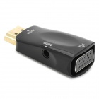 HDMI Male to VGA Female + Audio Jack Adapter - Black + Golden