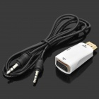 HDMI Male to VGA Female + Audio Jack Adapter - White + Golden