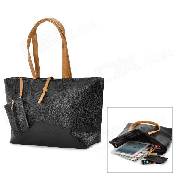Buy Fashion PU Shoulder Bag for Women - Black + Brown with Litecoins with Free Shipping on Gipsybee.com